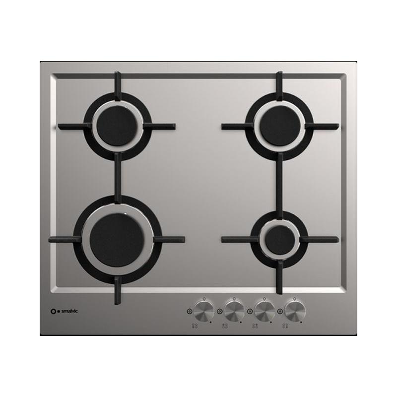 Plita incorporabila Smalvic PREMIUM PFT-MF60 4G VS, 60 cm, plita gaz, 4 arzatoare, sistem siguranta Stop-Gaz, inox