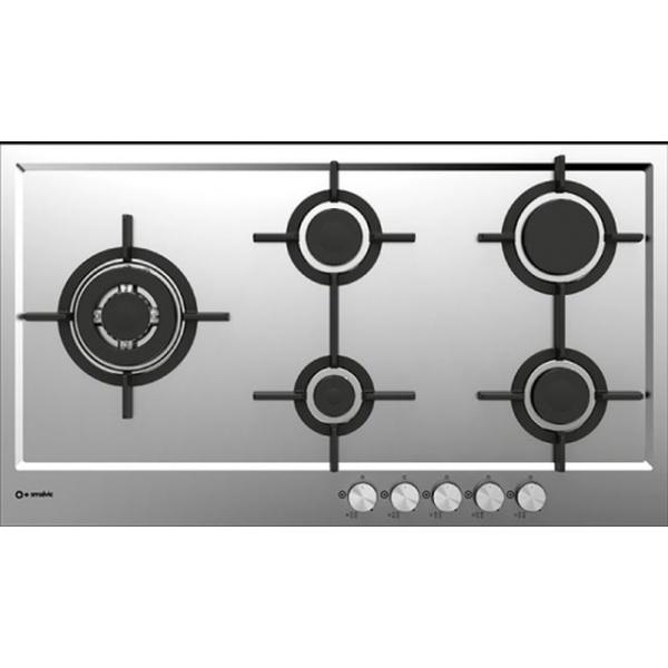 Plita incorporabila Smalvic PREMIUM PFT-MF75 4GTCS VS, 75 cm, plita gaz, 5 arzatoare, sistem siguranta Stop-Gaz, inox