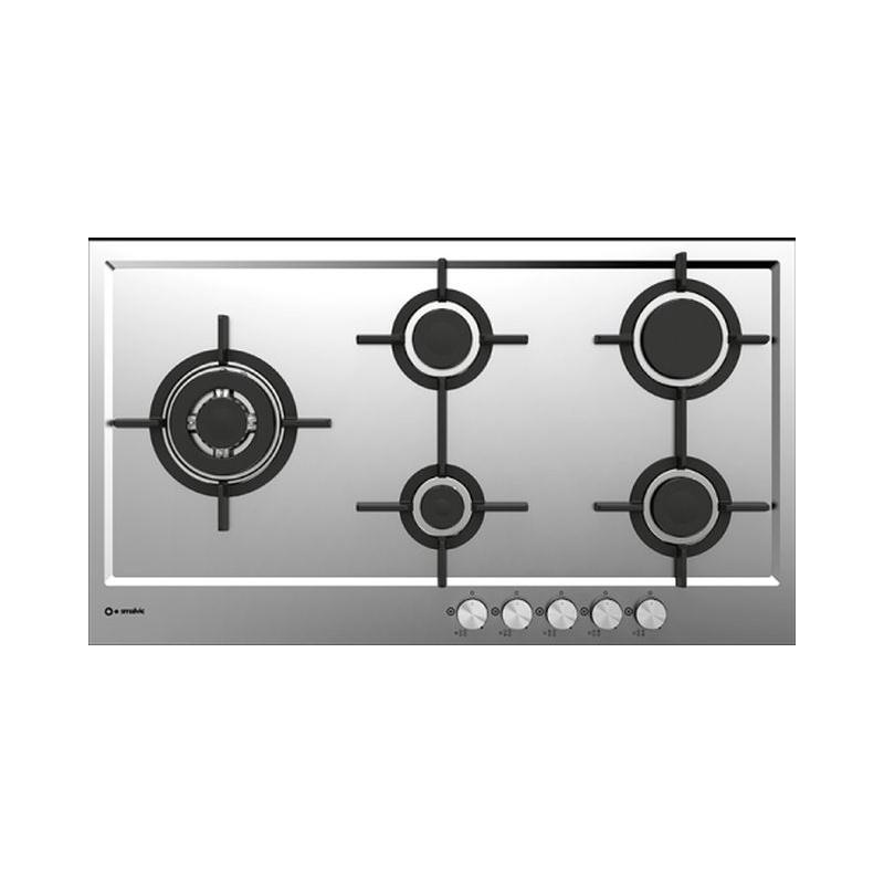 Plita incorporabila Smalvic PREMIUM PFT-MF90 4GTCS VS, 90 cm, plita gaz, 5 arzatoare, sistem siguranta Stop-Gaz, inox