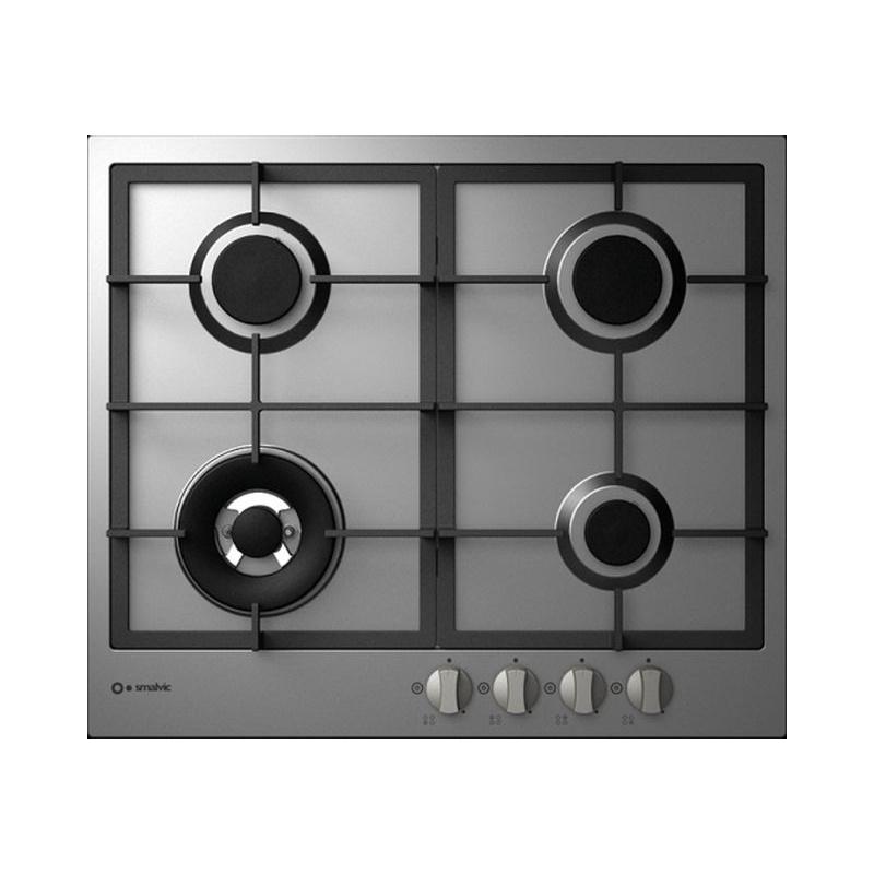 Plita incorporabila Smalvic SLIM PS-MF60 3GTC VS, 60 cm, plita gaz, 4 arzatoare, sistem siguranta Stop-Gaz, inox