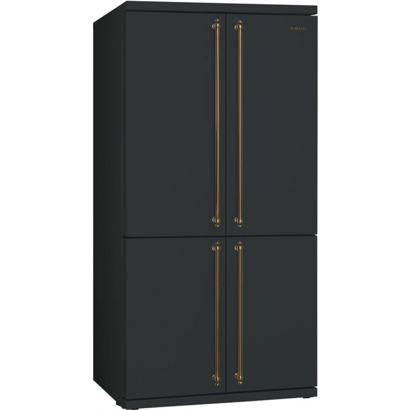 Side by side SMEG COLONIALE FQ60CAO, Clasa A+, 610 litri, Latime 92 cm, total No Frost, 4 usi, negruantracit