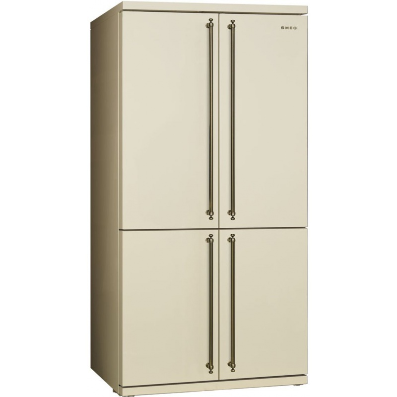 Side by side SMEG COLONIALE FQ60CPO, Clasa A+, 610 litri, Latime 92 cm, total No Frost, 4 usi, crem