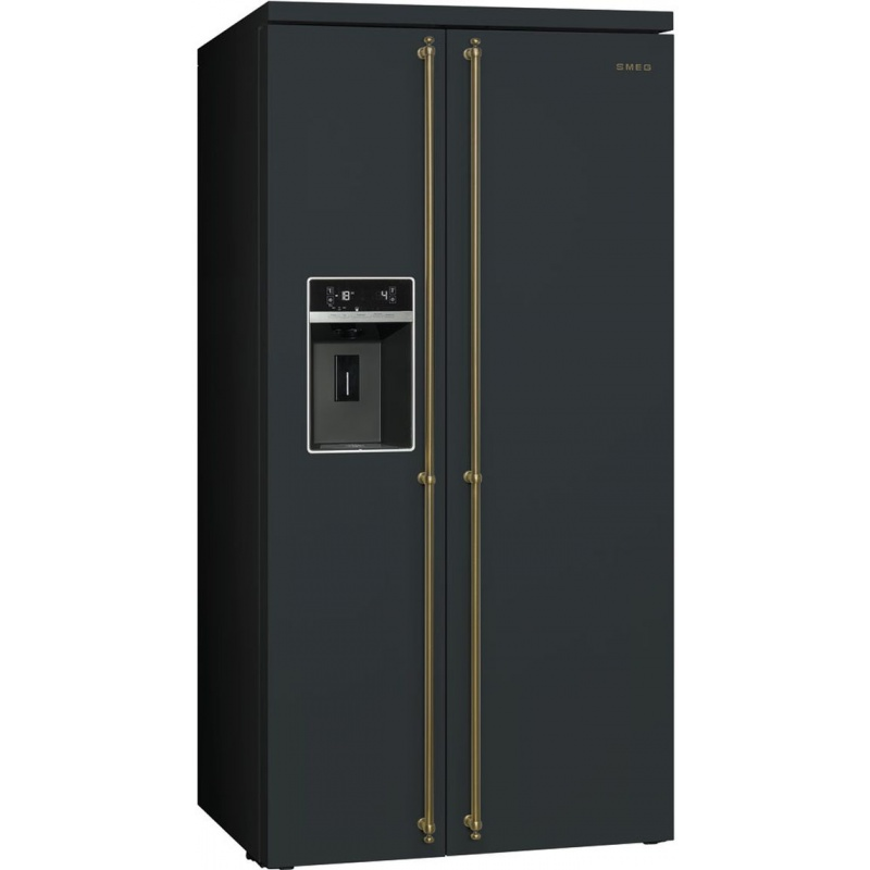 Side by side SMEG COLONIALE SBS8004AO, Clasa A+, 616 litri, Latime 91 cm, total No Frost, negru antracit