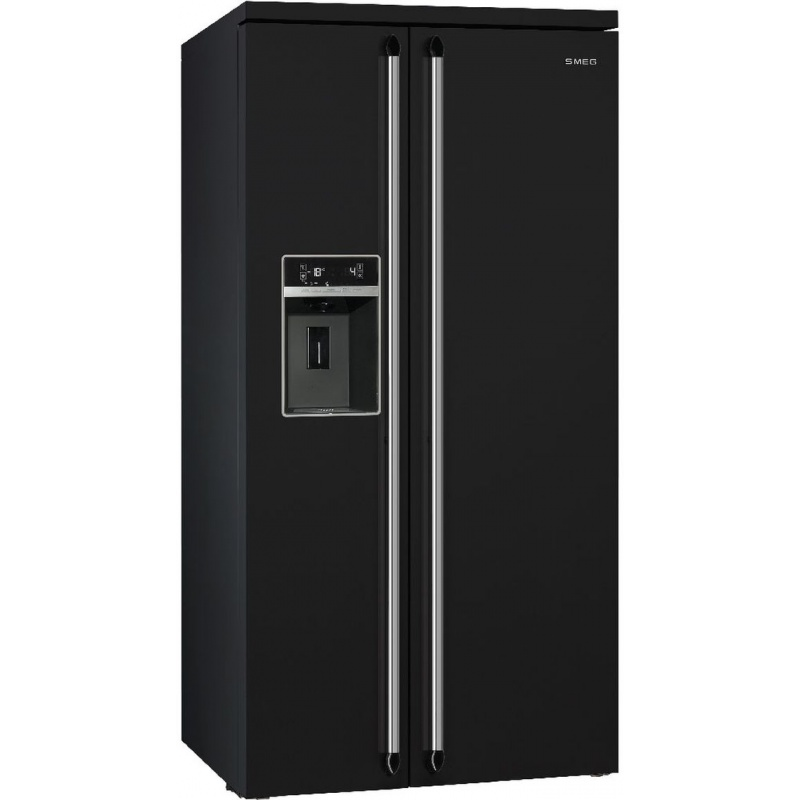 Side by side SMEG VICTORIA SBS963N, Clasa A+, 616 litri, Latime 91 cm, total No Frost, negru