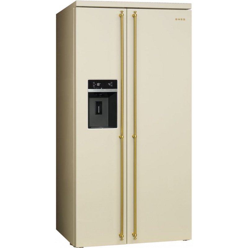 Side by side SMEG COLONIALE SBS8004P, Clasa A+, 616 litri, Latime 91 cm, total No Frost, crem