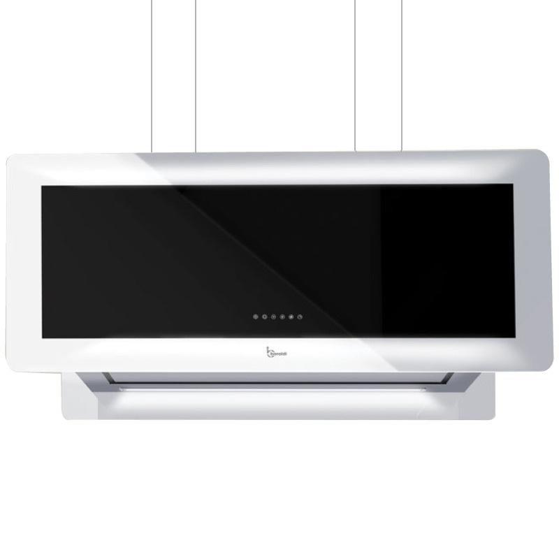 Hota design suspendata Baraldi Metropolis 01MTP090ST80, 90 cm, 800 m3/h, sticla neagra/inox
