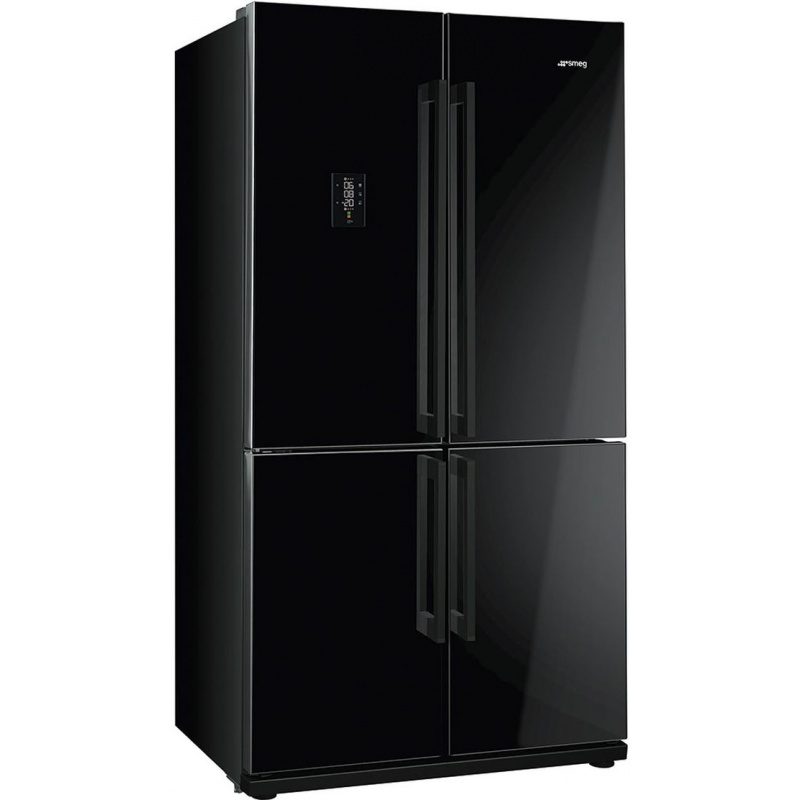 Side by side SMEG FQ60NPE, Clasa A+, 610 litri, Latime 92 cm, total No Frost, 4 usi, negru lucios