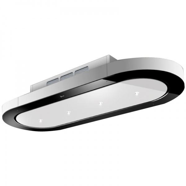 Hota de tavan Baraldi Unika free 01UNKFR120WH90, 120 cm, 900 m3/h, sticla neagra/alb