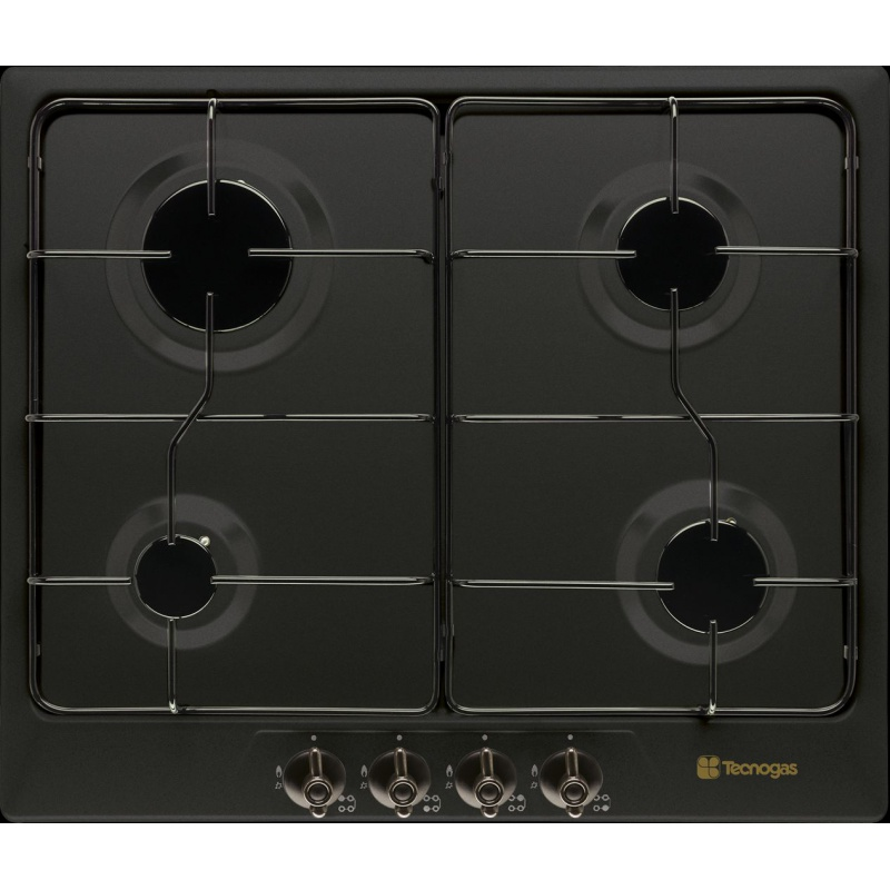 Plita incorporabila Tecnogas RETRO F64VB, 60 cm, plita gaz, 4 arzatoare, sistem siguranta Stop-Gaz, negru mat