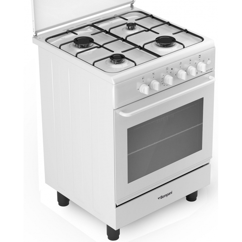 Aragaz Bompani Ecoline BI640KB/N, 60x60 cm, plita gaz, 4 arzatoare, aprindere electronica, grill electric, alb