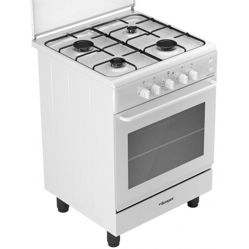 Aragaz Bompani Ecoline BI610KB/N, 60x60 cm, plita gaz, 4 arzatoare, aprindere electronica, grill electric, alb