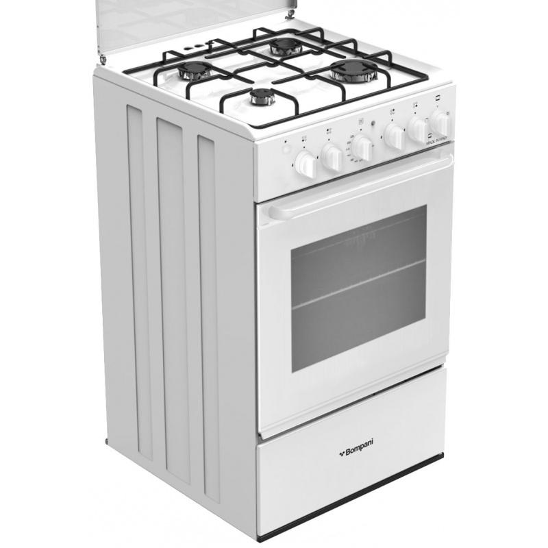 Aragaz Bompani Ecoline BI540GB/N, 50x50 cm, plita gaz, 4 arzatoare, aprindere electronica, alb
