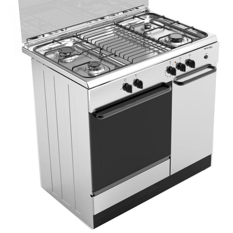 Aragaz Bompani Ecoline BI953EA/L, 90x60 cm, plita gaz, 4 arzatoare, aprindere electronica, cuptor gaz, grill electric, alb