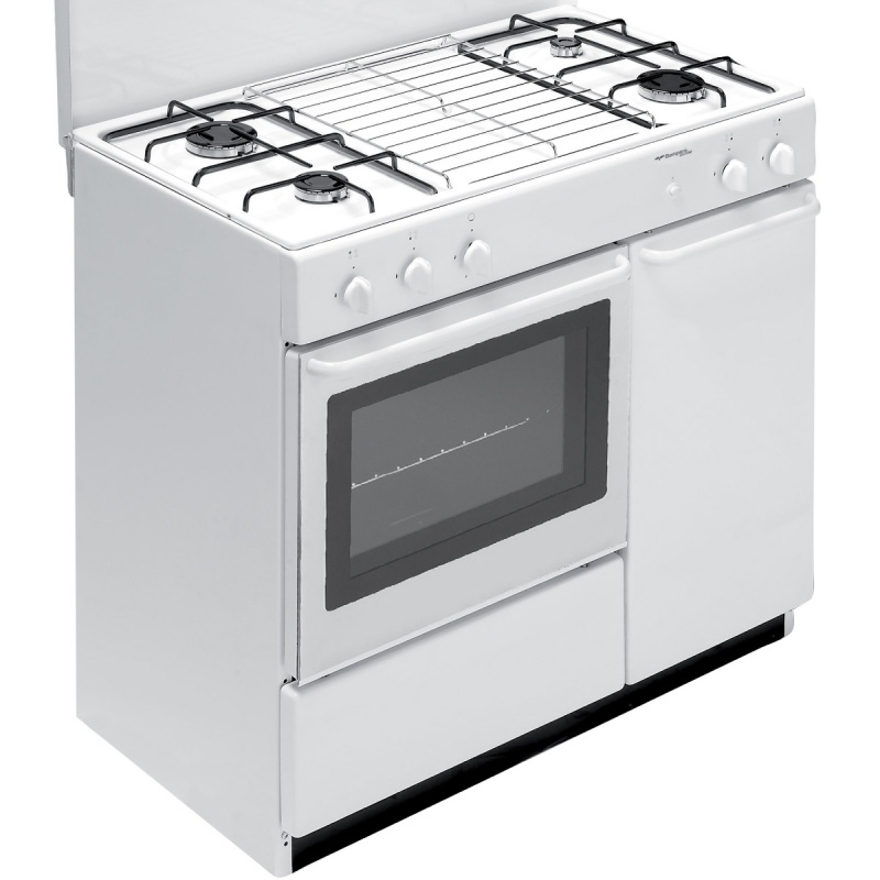 Aragaz Bompani Ecoline BI950EA/L, 90x60 cm, plita gaz, 4 arzatoare, aprindere electronica, cuptor gaz, grill electric, alb
