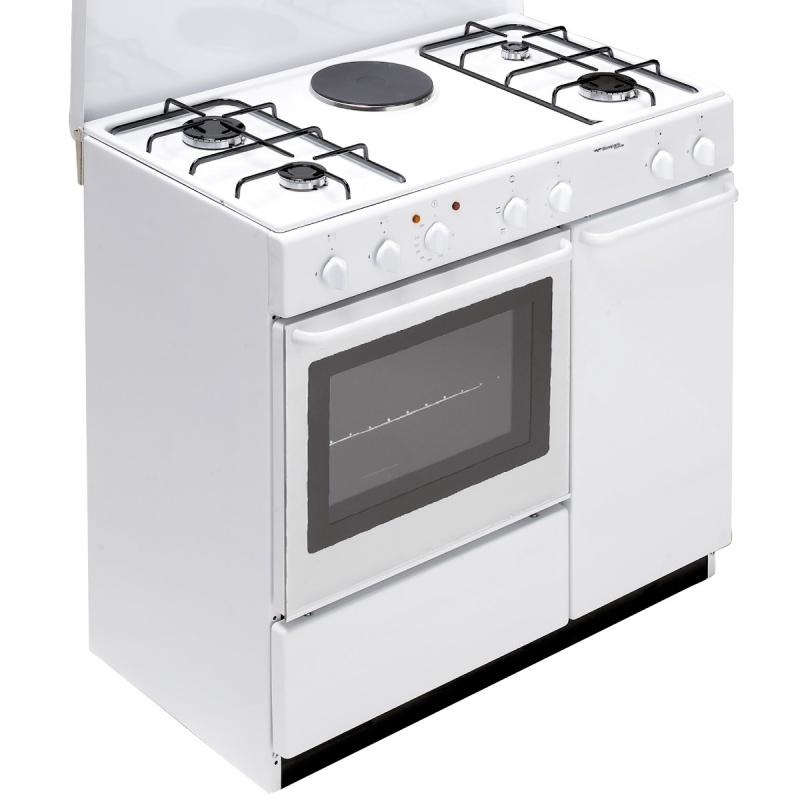 Aragaz Bompani Ecoline BI940EA/L, 90x60 cm, plita mixta gaz+electric, 5 arzatoare, aprindere electronica, grill electric, alb