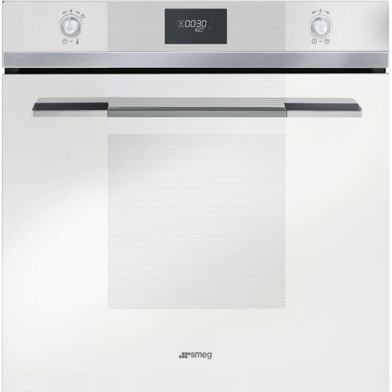 Cuptor incorporabil Smeg Linea SF106B, electric, multifunctional, 60cm, 8 functii gatit, sticla alba