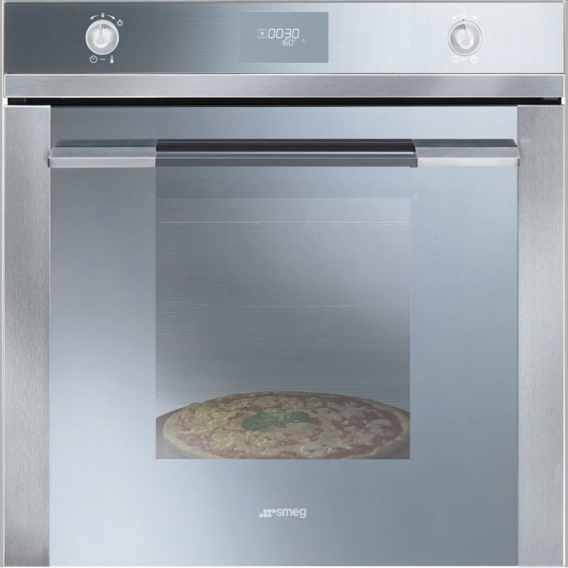 Cuptor incorporabil Smeg Linea SF106PZ, electric, multifunctional, 60cm, 8 functii gatit, pizza, sticla argintie